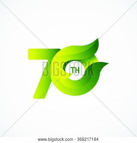 70 Th Anniversary Celebrations Green Gradient Vector Template Design Illustration