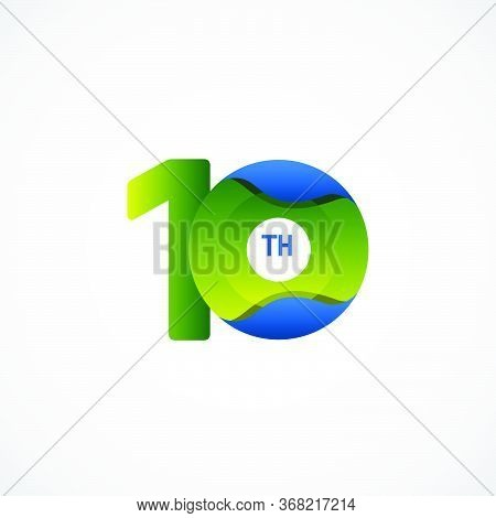 10 Th Anniversary Celebrations Green Blue Gradient Vector Template Design Illustration