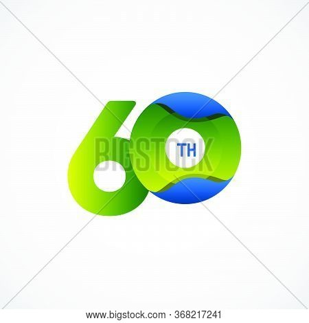 60 Th Anniversary Celebrations Green Blue Gradient Vector Template Design Illustration