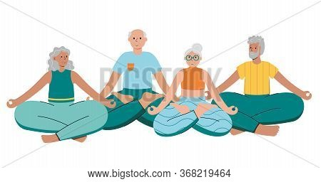 Set Of Happy Couples Of Seniors Performs Yoga Exercises At Home. Lotus Pose. Old Or Mature Male And