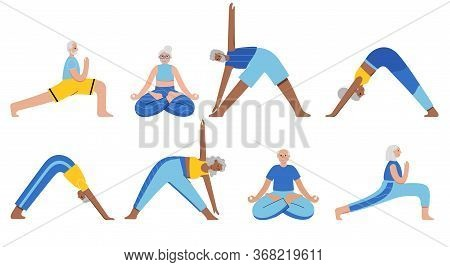 Set Of Happy Seniors Performs Yoga Exercises. Old Or Mature Male And Female Cartoon Isolated Charact