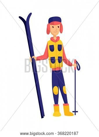 men skier. Male skiing design element isolated on white background. Winter sportsman on ski resort. Winter sport activity. Skier stands with skis