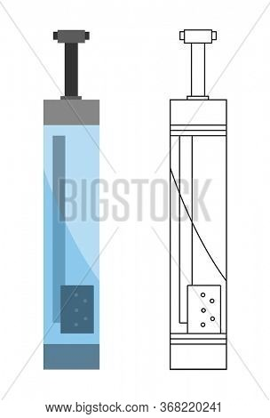Flat icon of water filter. Color and sketch style. Water filter at home component for clean water busines and logo. Water is purified through the filter system concept