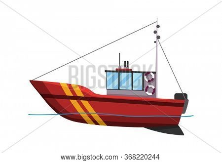Fishing boat side view isolated on white background. Fishing commercial ship, fisher sea boat for ocean water, shipping seafood industry. Fisherman boat