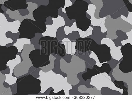 Camouflage seamless pattern. Abstract military or hunting camouflage background. Classic clothing style masking camo repeat print. Forest texture camouflage