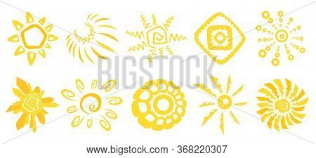 Cute funny sun icons. Bright and beautiful cartoon characters. Abstract yellow sun shapes. Hand drawn doodle suns. Suns logo icon. Illustration