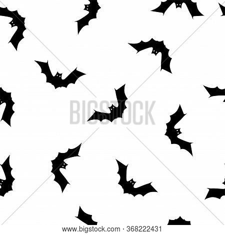 Halloween Seamless Pattern With Bats. Halloween Background With Bats. Colored Vector Patterns In Fla