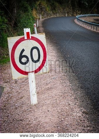 Speed Limit Of 60 Kilometers Per Hour Along The Small Mountain Road On The Opposite Side Of Cradle M