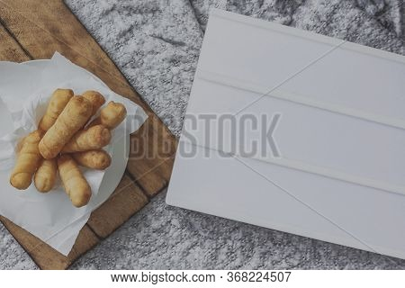 Delicious Typical Venezuelan Appetizers Tequeños, Cheese Fingers. Mockup To Customize.