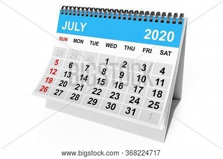 2020 Year July Calendar On A White Background. 3d Rendering