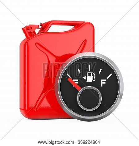 Fuel Dashboard Gauge Showing A Empty Tank In Front Of Red Metal Jerrycan On A White Background. 3d R