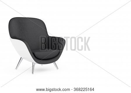 Black And White Modern Leather Oval Shape Relax Chair On A White Background. 3d Rendering