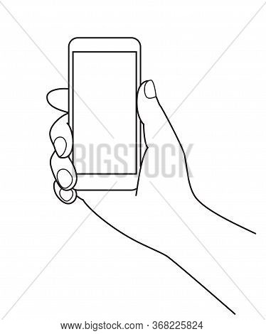 Holding A Cell Phone (mobile Phone) At Hand, Line Illustration, Graphic Element