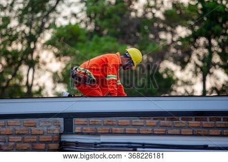Mechanic In Uniform, Safety At Work, Roof, Building