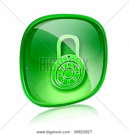 Lock Off, Icon Green Glass, Isolated On White Background.