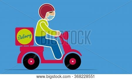 Simplified Drawing Of Man Wearing Blue Face Mask With Red Helmet Driving A Red Motorcycle Working De