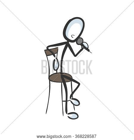 Stand Up Comedy. Speaker Telling Story To Audience. Comedian With A Microphone. Hand Drawn. Stickman