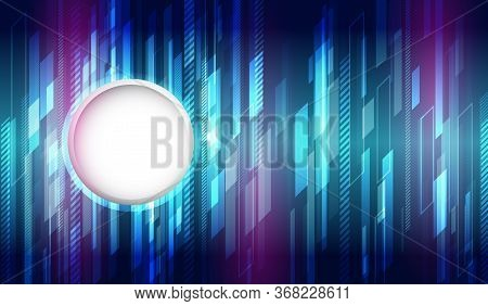 Futuristic Blue Background With Glowing Technology Lines. Bright Hi-tech Illustration.