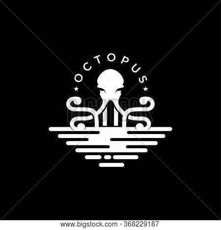 Octopus Logo, Simple Octopus Vector Logo Design, Isolated On Black Background. Vector Illustration