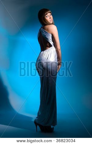 Portrait To Utmost Beautiful Girl In A Long Dress