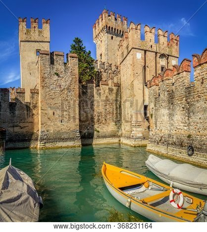 Towers of Scaligero Castle in Sirmione in Lombardy, Italy