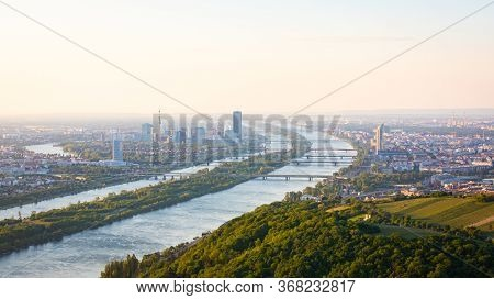 Vienna, Austria In Europe. Panoramic View To The City And The Danube River From Kahlenberg Hill.