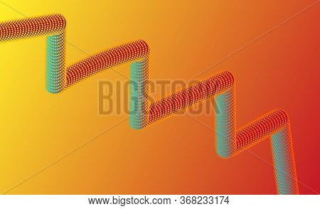 3d Geometric Zigzag Shape Tube. Abstract Fluid Geometric Background. Abstract Texture For Posters, B