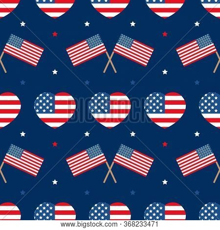 Usa Flags And Hearts Vector Seamless Pattern Background For National American Holidays Design. 4th O