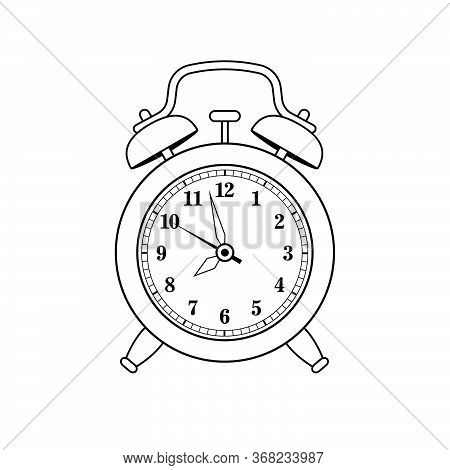 Alarm Clock In Retro Style. Icon Analog Watch. Symbol Of Time Management, Chronometer With Hour, Min