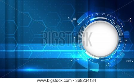 Technology Blue Background With Circle And Hexagons. Futuristic Communication Illustration.