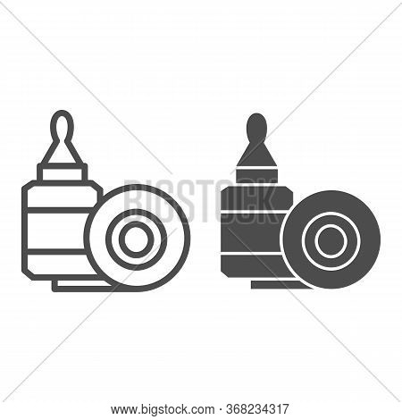 Scotch Tape And Glue Line And Solid Icon, Stationery Concept, Gluing Tools Sign On White Background,