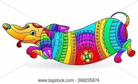 Illustration In Stained Glass Style With Abstract Fun Rainbow Dog Dachshund, Dog Isolated On A White