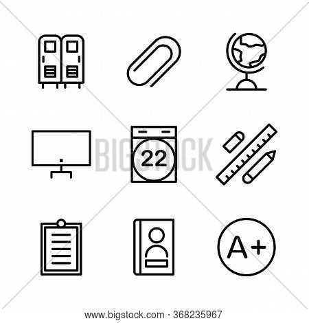 Education Icon Set Include Locker, Safe, School, Lockers, Attach, Tool, Attachment, Earth, Globe, Ge