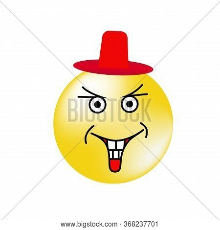 Laughing Emoticon In A Red Hat Looking.