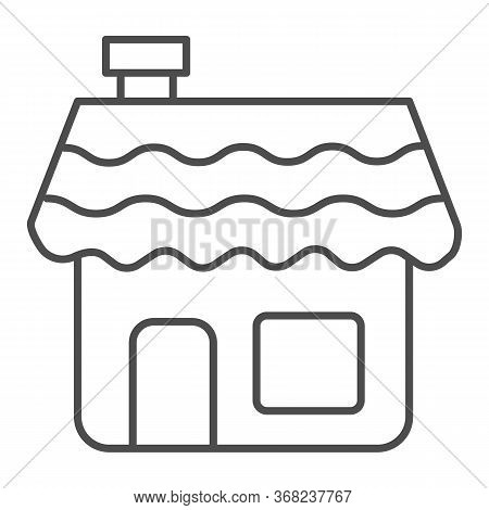 Gingerbread House Thin Line Icon, Bakery Concept, Gingerbread Cookie Sign On White Background, Holid