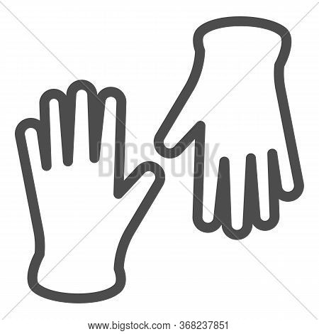 Medical Gloves Line Icon, Healthcare Concept, Pair Of Surgical Latex Glove Sign On White Background,