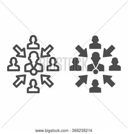 Group Of People With Leader And Arrows Line And Solid Icon, Teamwork And Relationship Concept, Worki