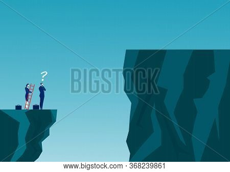 Businessmen Are Competing Across The Cliff To The Goal Opposite The Stair Red Go To Success Goal. To