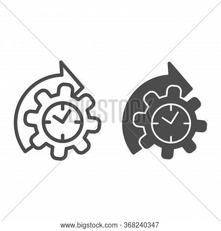 Watches And Arrow With Gear Line And Solid Icon, Time Managment Concept, Cogwheel With Clock Reproce