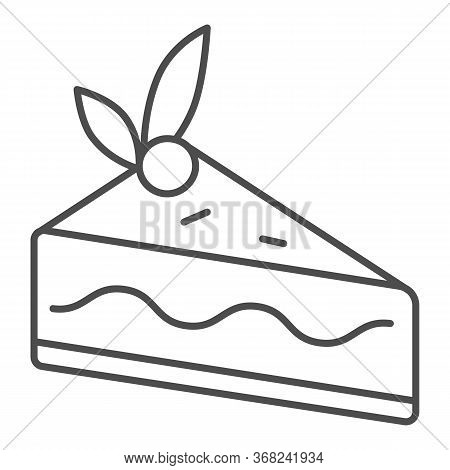 Cake Slice Thin Line Icon, Confectionary Concept, Cheesecake Sign On White Background, Piece Of Choc