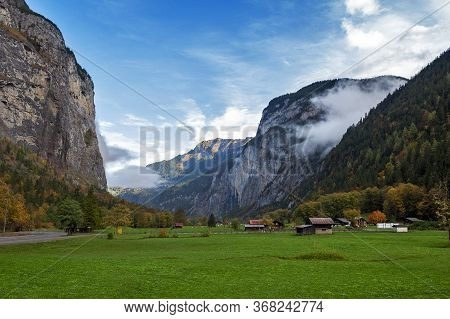 Scenic View Of Stechelberg, A Small Alpine Village Located At The Base Of The Schwarzmonch Mountain