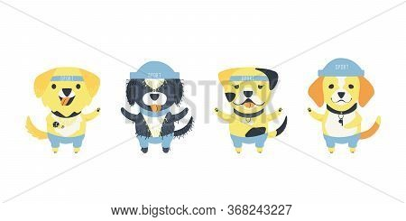 Set Of Cute Dogs Of Different Breeds. Funny Cartoon Character. Dogs With Accessories For Sport. Watc