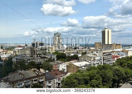 Kiev, Ukraine - 26 May 2020: Panorama Of Kyiv City Center, Business Cityscape Of Kiev, Ukraine. Old