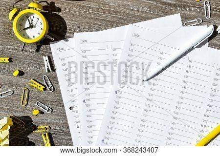 Agenda, Hour By Hour Planner With Alarm Clock And Office Supplies. Business Planning, Workplace. Pap