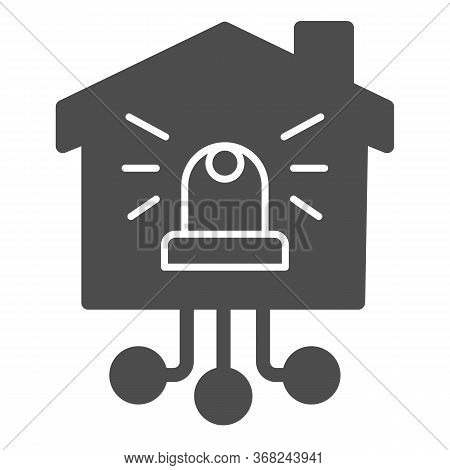 Automatic Danger Alarm At Home Solid Icon, Smart Home Concept, Alarm Lamp In The Building Sign On Wh