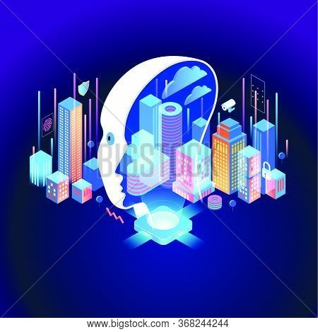 Smart City Or Intelligent Building Isometric Vector Concept