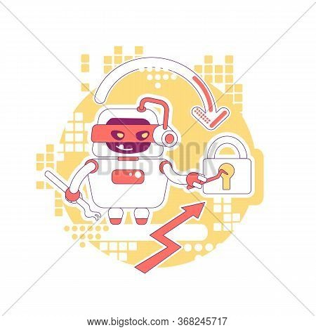 Hacker Bot Thin Line Concept Vector Illustration. Stealing Personal Account Password, Data And Conte