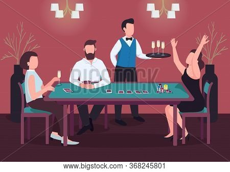 Casino Flat Color Vector Illustration. Three People Play Poker. Woman Win Card Game At Green Table.