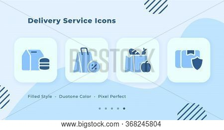 Delivery Service Icons Set With Filled Style Duo Tone Blue Color Modern Flat Design With Shopping Ba