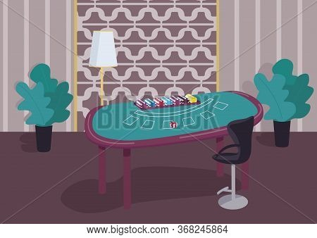 Blackjack Green Table Flat Color Vector Illustration. Counter To Play Card Games. Stack Of Chips To